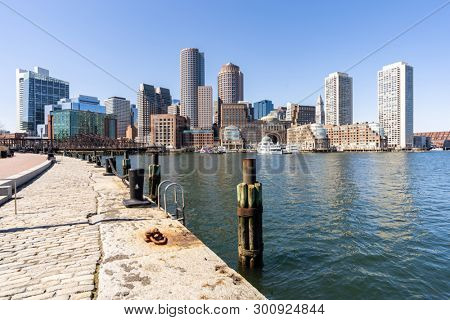 Boston Downtown skylines building cityscape at Boston city, MA, USA.