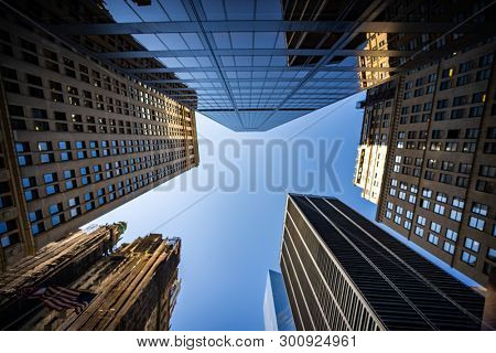 Blurred Background of low angle view of skyscrapers in New York