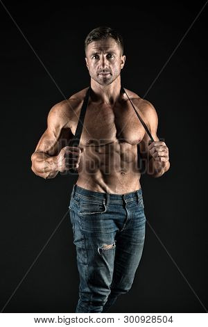 He Got Perfect Torso. Muscular Man Hold Leather Belt. Fetish. Bdsm Love Game. Sportsman With Muscula