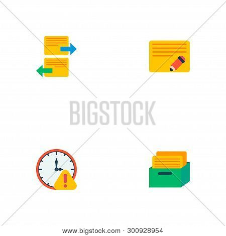 Set Of Management Icons Flat Style Symbols With Deadline, Arrange Task, Edit Task And Other Icons Fo