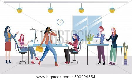 Businesswomen Planning New Business Strategy. Women Working At A Modern Office. Coworking Office Spa