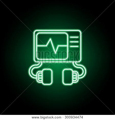 Medical, Defibrillator Icon In Neon Style. Element Of Medicine Illustration. Signs And Symbols Icon