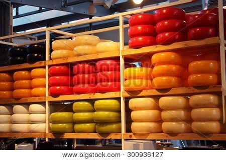 Tasty And Colorful Forms Of Tasting Cheese For Fine Palates. Dairy Product Typical Of Holland. Displ