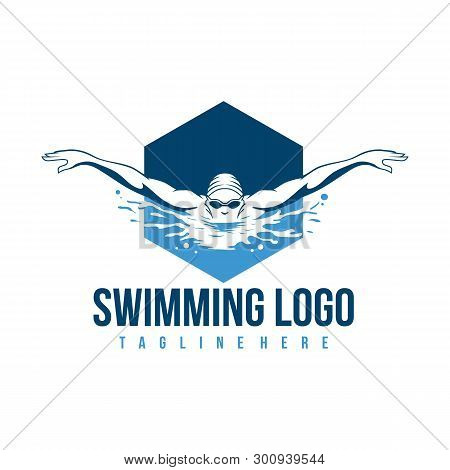 Swimming Logo. Swimmer Icon With Caption. Swimming Or Swimmer Logo. Vector Illustration