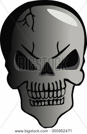 Illustration Of Cartoon Skull Halloween On White Background
