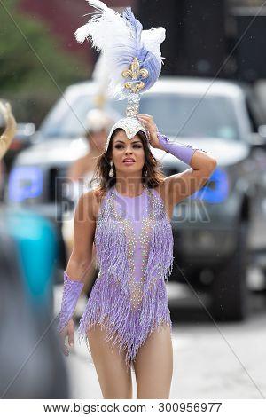 New Orleans, Louisiana, Usa - February 23, 2019: Mardi Gras Parade, Members Of The Nola Showgirls, W