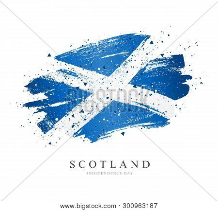 Flag Of Scotland. Vector Illustration On White Background. Brush Strokes Drawn By Hand. Scotland Ind