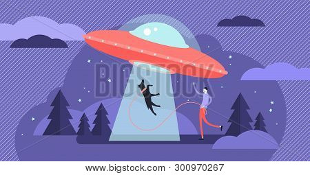 Ufo Vector Illustration. Unidentified Flying Space Object Persons Concept. Alien Ship Design From Un