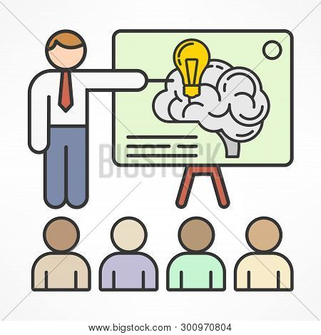 Brainstorm Concept For Business And Presentation, Symbol For Brainstorming Creative Idea. Vector Ill