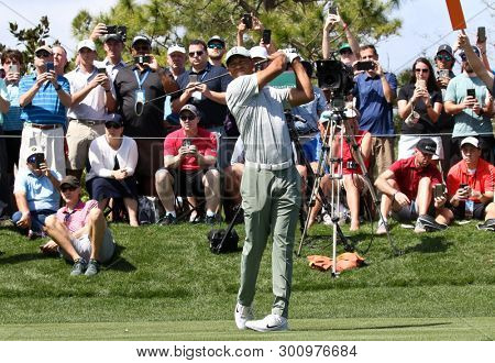 PONTE VEDRA BEACH, FL-MAR 14: Tiger Woods hits a fairway shot during the first round of The PLAYERS Championship on The Stadium Course at TPC Sawgrass on March 14, 2019 in Ponte Vedra Beach, Florida.