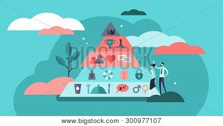 Basic Needs Vector Illustration. Flat Tiny Maslows Hierarchy Person Concept. Triangle Pyramid With P