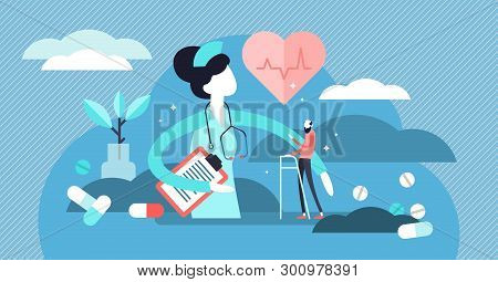 Nurse Vector Illustration. Flat Tiny Medical Aid Occupation Persons Concept. Hospital And Clinic Wor