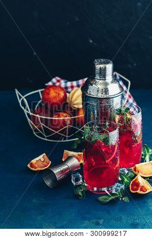 Cocktail Bloody Orange Margarita In Highball Glass