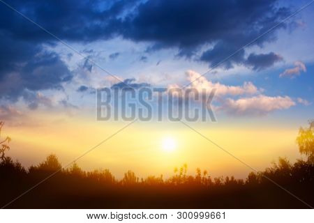 Cloudy Landscape .  Colourful Sunrise . Light About The Sky . Paradise Heaven . Background Sky At Su