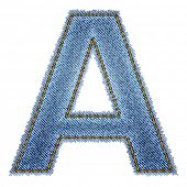 Jeans alphabet. Letter A. Vector eps10 background poster