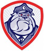 Illustration of a bulldog police dog watchdog policeman facing front sent inside a shield done in cartoon style. poster