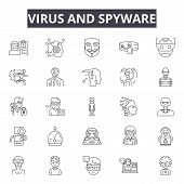 Virus and spyware line icons, signs, vector set, linear concept, outline illustration poster