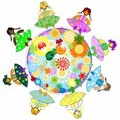 kids and planet; joyful illustration with planet earth happy children and colorful flowers poster