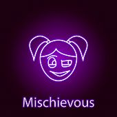 mischievous girl face icon in neon style. Element of emotions for mobile concept and web apps illustration. Signs and symbols can be used for web, logo, mobile app, UI, UX poster
