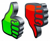 Three-dimensional thumbs up and down symbols on white background. poster