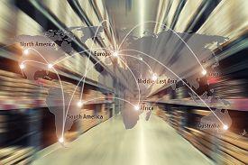 Map Global Logistics Partnership Connection Of Cargo Warehouse  For Logistics Import Export Backgrou