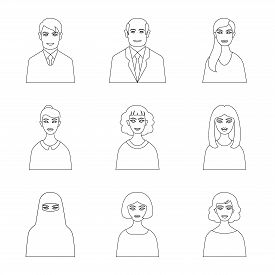 Vector Design Of Character  And Avatar Icon. Collection Of Character  And Person Stock Symbol For We