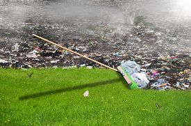 Broom Sweeping Away The Garbage, Ecology Concept