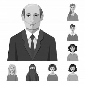 Isolated Object Of Face And Person Sign. Collection Of Face And Portrait Vector Icon For Stock.