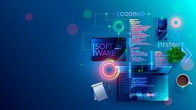 Software Development Coding Process Concept. Programming, Testing Cross Platform Code, App On Laptop