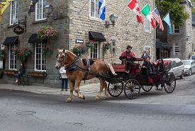 Quebec,quebec,canada: September 30, 2018: Horse Drawn Carriage With Tourists In Old Quebec City.