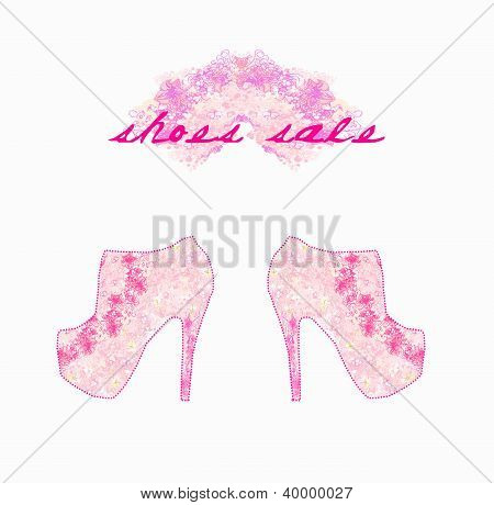 Floral Shoes Poster