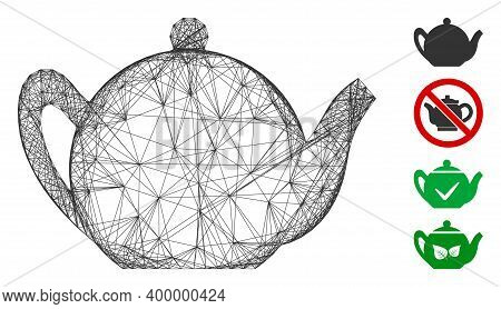 Vector Network Teapot. Geometric Hatched Frame Flat Network Made From Teapot Icon, Designed From Cro
