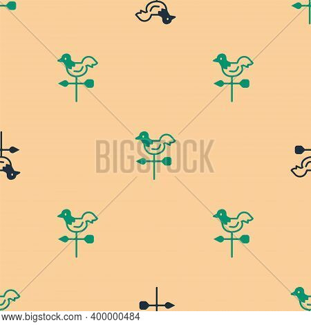 Green And Black Rooster Weather Vane Icon Isolated Seamless Pattern On Beige Background. Weathercock