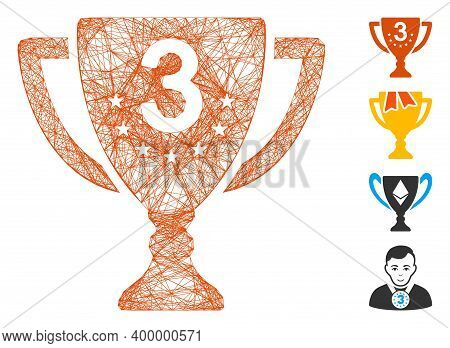 Vector Wire Frame Third Place Cup. Geometric Linear Frame 2d Net Generated With Third Place Cup Icon