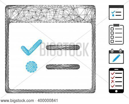 Vector Wire Frame Todo Items Calendar Page. Geometric Wire Carcass 2d Net Made From Todo Items Calen