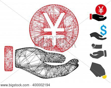 Vector Wire Frame Yen Coin Payment Hand. Geometric Wire Frame Flat Net Based On Yen Coin Payment Han