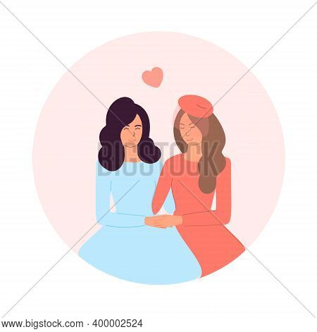 .happy Lesbian Couple.lesbian Newlyweds Holding Hands. The Concept Of Lgbt, Love And Equality