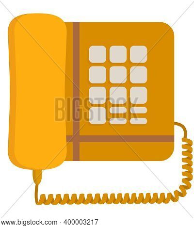 Old Push-button Telephone. Outdated Equipment In Cartoon Style.