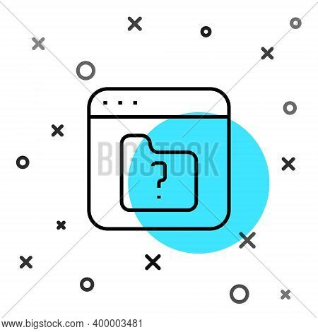 Black Line File Missing Icon Isolated On White Background. Random Dynamic Shapes. Vector