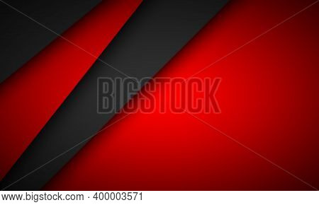Black And Red Overlap Layers Background. Modern Material Design Background. Vector Illustration Corp