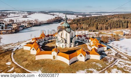 Pilgrimage Church Of St John Of Nepomuk At Zelena Hora,czech Republic, Is The Masterpiece Of Archite