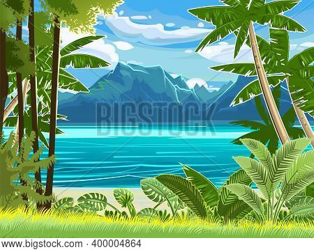 Beach. Seaside Landscape. Tropical Trees By The Sea, Ocean. Mountains In The Distance On The Horizon