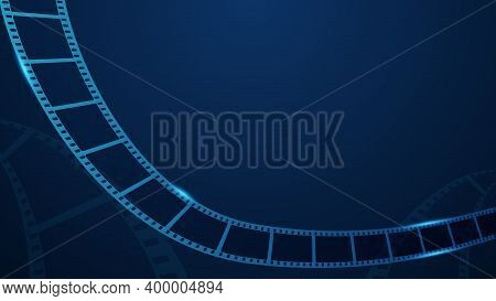 Realistic 3d Film Strip In Perspective On Blue Background With Place For Text. Modern Cinema Backgro