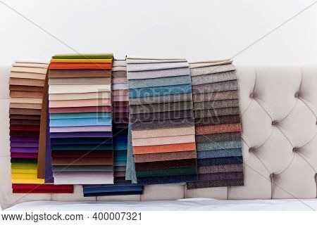 Catalog Of Various Colors Of Textile Material For Interior Decoration And For The Manufacture Of Fur