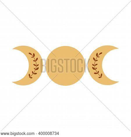 Triple Moon Phase Symbol. Boho Moon Logo. Yellow Moon Phase Isolated Icon, Alchemy Graphic Element V