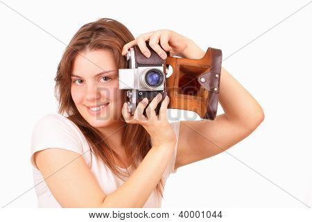Beautiful Young Girl With An Old Camera