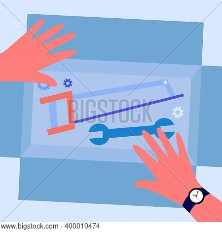 Box With Repair Tools. Human Hands, Handsaw, Spanner Flat Vector Illustration. Domestic Works, Handy