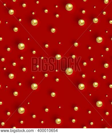 Gold Balls On Red Background. Geometric Seamless Pattern. Texture With Golden Round Spheres. Design