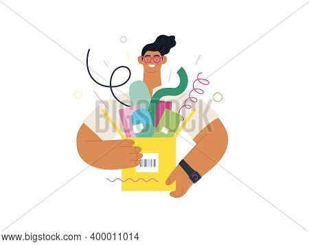 Discounts, Sale, Promotion - Online Shopping- Modern Flat Vector Concept Illustration Of A Young Man