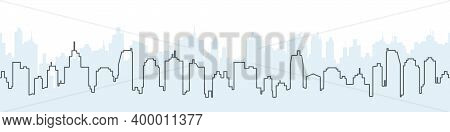 City Skyline Vector. Silhouette Of The City In A Linear Style. Modern Urban Landscape. City Skyscrap